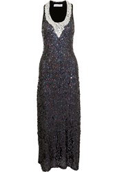 Sonia Rykiel Sequined Ribbed Jersey Gown Black