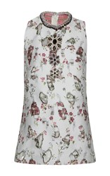 Giambattista Valli Distressed Floral Embroidered Jeweled Top White Red Grey