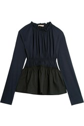 Marni Gathered Cotton Jersey And Poplin Top Midnight Blue