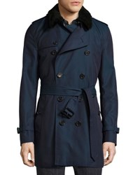Burberry Gabardine Modern Fit Trench Coat With Shearling Top Collar Teal Blue