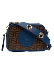 Fendi Brown And Blue Camera Case Logo Print Leather Cross Body Bag Black