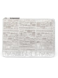 Comme Des Gara Ons Wallet Embossed Leather Zip Pouch Metallic