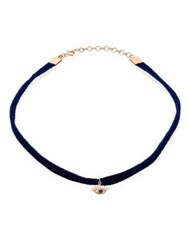 Kismet By Milka Evil Eye Blue Sapphire 14K Yellow Gold And Velvet Choker