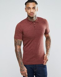 Asos Muscle Fit Knitted Polo In Chestnut Twist Cotton Chestnut Twist Brown