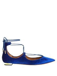 Aquazzura Christy Velvet Flats Blue