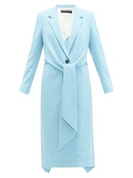 Roland Mouret Hollywell Tie Front Wool Crepe Coat Light Blue