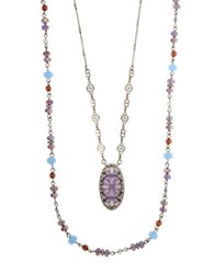 Lonna And Lilly Cubic Zirconia Mother Of Pearl Epoxy Necklace Purple