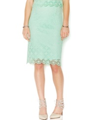 Bar Iii Lace Pencil Skirt Garden Mint