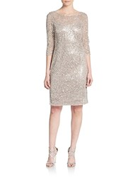 Kay Unger Sequined Shift Dress Bisque