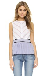 English Factory Sleeveless Top Off White Oxford Blue