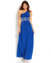 Hailey Logan By Adrianna Papell Juniors' One Shoulder Gown Cobalt