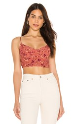 Blue Life Avery Corset Top In Rust. Brown Floral