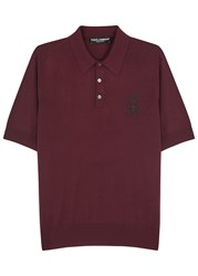 Dolce And Gabbana Bordeaux Embroidered Wool Polo Shirt
