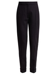 Stella Mccartney Turn Up Cuff Straight Leg Wool Blend Trousers Navy