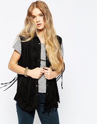 Blank Nyc Fringe Benefits Sleeveless Shirt In Black Black