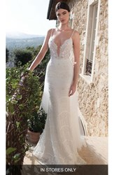 Women's Berta Embellished Lace Column Gown With Detachable Train In Stores Only