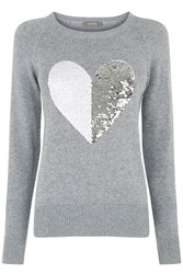 Oasis Sequin Heart Jumper Grey