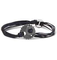 Tateossian Gear Elemental Cord And Rhodium Plated Bracelet Navy