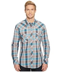 Rock And Roll Cowboy Plaid Long Sleeve Snap B2s5731 Turquoise Grey Long Sleeve Button Up Blue