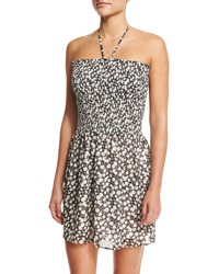 Tory Burch Orchard Floral Print Smocked Coverup Dress Black Orchid