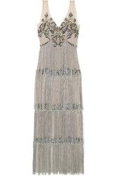 Marchesa Notte Fringed Embellished Tulle And Satin Gown Silver