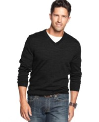 Club Room Merino Blend V Neck Sweater Deep Black