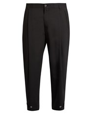 Dolce And Gabbana Pleat Front Wool Blend Cropped Trousers Black