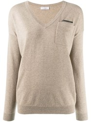 Brunello Cucinelli V Neck Jumper Neutrals