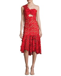 Johanna Ortiz Lace One Shoulder Midi Dress Red