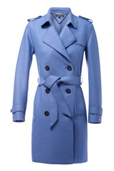 Tommy Hilfiger Beth Boiled Wool Trench Coat Blue