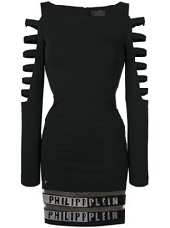 Philipp Plein Cut Out Sleeve Dress Black