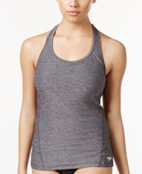 Speedo Power Pulse Heathered Tankini Top Women's Swimsuit Heather Grey