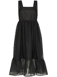 Shrimps Sylvia Floral Embroidered Midi Dress Black