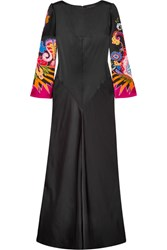 Etro Printed Satin Gown Black