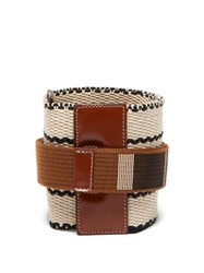 Etro Wide Woven Cotton And Leather Belt Tan