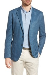 Flynt Big And Tall Trim Fit Heathered Jersey Blazer Blue