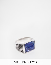 Seven London Sterling Silver Blue Stone Ring