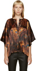 Givenchy Orange And Blue Satin Peacock Blouse