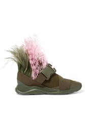 Christopher Kane Feather Embellished Neoprene Sneakers Army Green