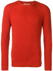 Nuur Long Sleeve Fitted Sweater Yellow And Orange