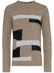 Rick Owens Patchwork Knit Jumper Nude And Neutrals