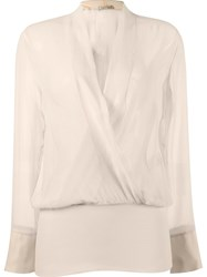 Giuliana Romanno Fitted Waist Longsleeved Blouse Nude And Neutrals