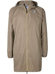 K Way Contrast Zip Parka Brown