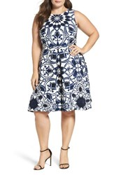Taylor Dresses Plus Size Women's Mirror Print Fit And Flare Dress