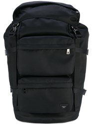 Armani Jeans Logo Backpack Men Polyamide One Size Black