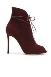 Gianvito Rossi Peep Toe Lace Up Suede Booties In Red