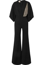 Antonio Berardi Crystal Embellished Cape Effect Crepe Jumpsuit Black