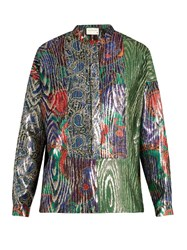 Maison Rabih Kayrouz Multi Jacquard Silk Blend Lame Shirt Green Multi