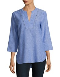 Ivanka Trump Grommet Accented Splitneck Top Blue White