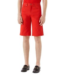 Gucci Bleach Washed Cotton Shorts Red